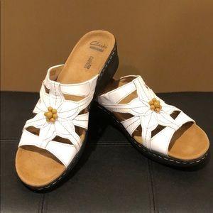 Clarks White Sandals.   Size 10 N